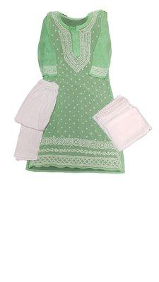 Light-green embroidered georgette georgette-kurtis