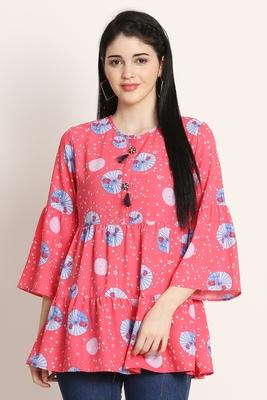 Pink printed crepe tunics