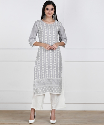 SWAGG INDIA Womens Wear Cotton Embrodiery Chikankari Grey Kurta