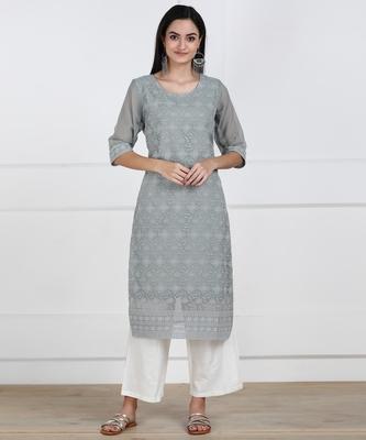 SWAGG INDIA Women's Wear Lucknowi Chikankari Needlecraft Faux Georgette Regular Wear Grey Kurti Kurta