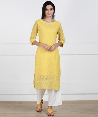 SWAGG INDIA Women's Wear Lucknowi Chikankari Needlecraft Faux Georgette Regular Wear Yellow Kurti Kurta