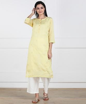 SWAGG INDIA Women Wear Viscose Chaderi Embrodiery Yellow Kurta with Cotton Lining