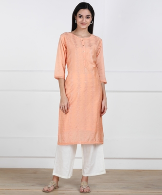 SWAGG INDIA Women Wear Viscose Chaderi Embrodiery Light Peach Kurta with Cotton Lining