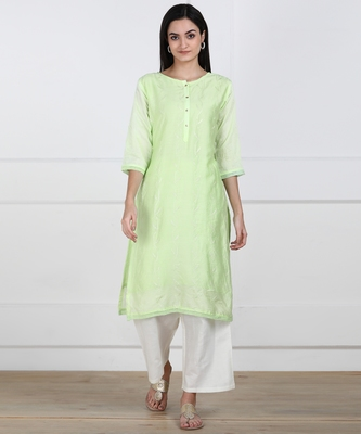 SWAGG INDIA Womens Wear Viscose Chaderi Embrodiery Kurta Light Green with Cotton Lining