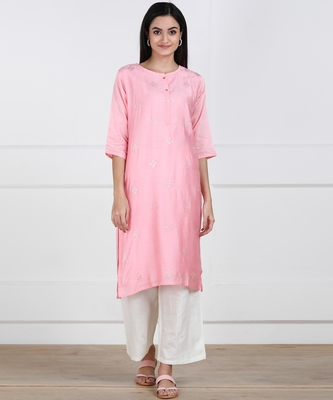SWAGG INDIA Womens Wear Viscose Chaderi Embrodiery Kurta Light Pink with Cotton Lining