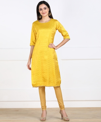 SWAGG INDIA Womens Wear Yellow Banarsi Brocade with Cotton Lining