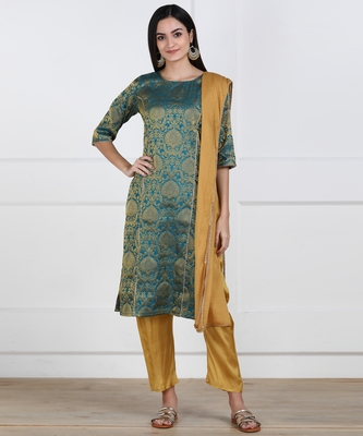 SWAGG INDIA Women Wear Banarsi Brocade with Pent and Duppata set
