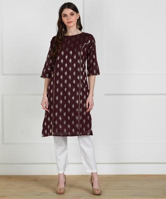 SWAGG INDIA Womens Wear Chaderi Brocade Maroon Kurti