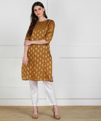 SWAGG INDIA Womens Wear Chaderi Brocade Beige Kurti