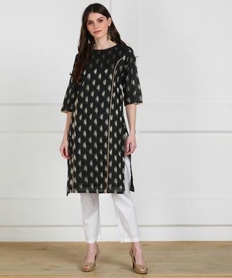 SWAGG INDIA Womens Wear Chaderi Brocade Black Kurti