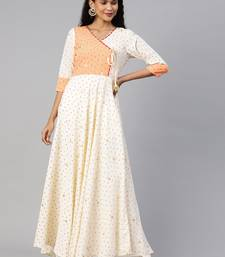 Cream printed crepe ethnic-kurtis