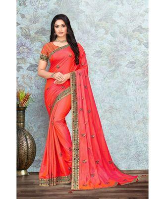 Indian Women Peach Vichitra silk Lace with stone Work Designer Saree