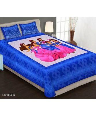 Doremon Printed Cotton Double Bedsheet