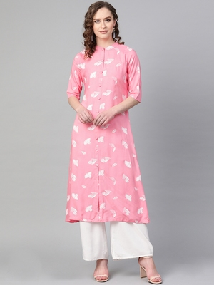 Pink printed rayon kurtis