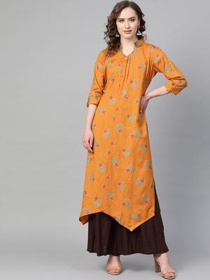 Orange printed rayon  kurtis