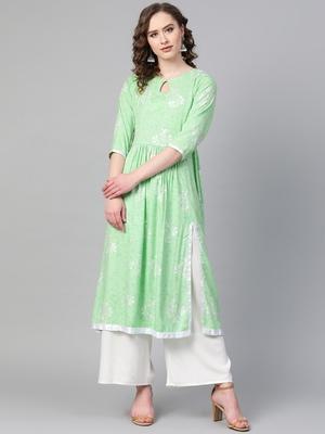 Green printed rayon kurtis