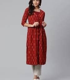 Red printed rayon  kurtis