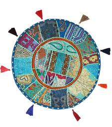 Lalhaveli Turquoise Cotton Khambadiya Cushion Pouf Cases Patchwork Round Floor Pillow Cover Cushions Cover 18 Inch