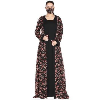 Mushkiya-Attached Shrug Abaya Like Dress With Belt.