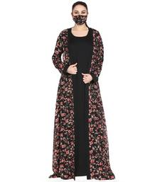 Mushkiya-Attached Shrug Abaya Like Dress With Belt.