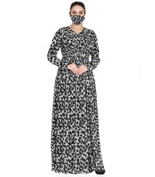 Mushkiya-Black & White Printed Dress In Chiffon Fabric With Extra Flare and Half Open Front.