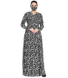 Mushkiya-Black & White Printed Dress In Chiffon Fabric With Extra Flare and Half Open Front.