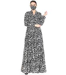 Mushkiya-Black & White Printed Dress In Chiffon Fabric With Extra Flare.