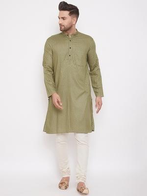 Green printed cotton silk men-kurtas