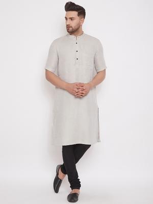 Beige woven cotton men-kurtas