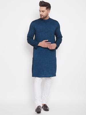 Blue woven viscose rayon men-kurtas