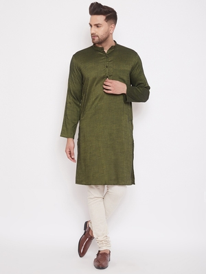 Green woven viscose rayon men-kurtas