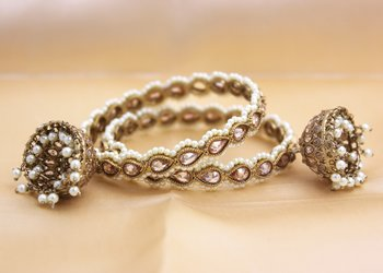 Set of 2 Golden Kundan Beaded Jhumki by Leshya