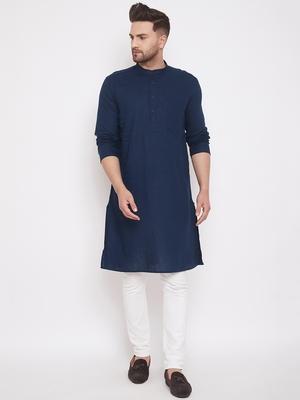 Blue  plain linen men-kurtas
