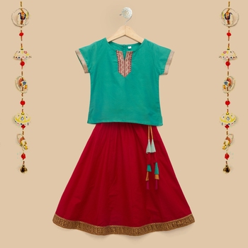 The Magic Wand Baby Girls Ethnic Wear Cap Sleeve Lace Embellished Festive Choli with Lehenga in Teal and Red Color