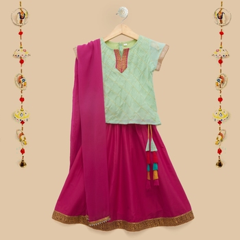 The Magic Wand Cap Sleeve Gold Chex Lace Embellished Choli with Lehenga & Dupatta in Mint and Fuchsia Color For Girls