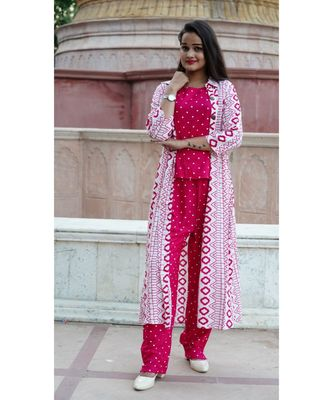 women printed crop top and pant with shurg || Party wear dress for women