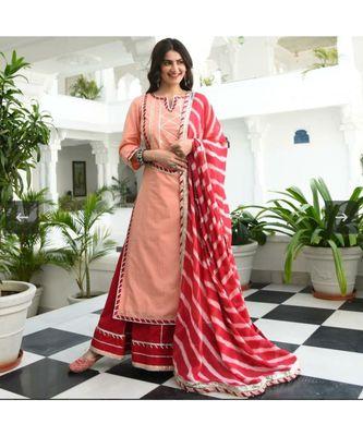 women's gotta work kurti and skirt with dupatta set    Party wear    jaipuri kaurti