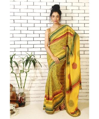 mustard georgette hand block printed and embroidered saree with printed blouse piece