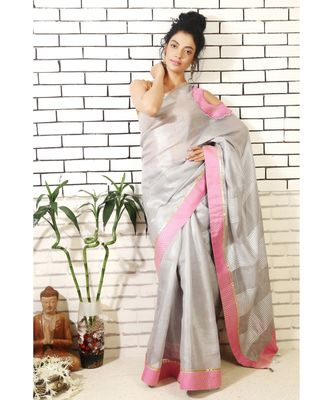 Grey Linen Cold Shoulder Saree with Pink Brocade Applique work on the shoulder and Pink Border with a Blouse Piece.