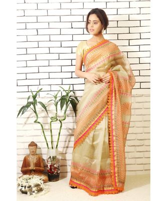Beige tissue organza saree with hand block print and embroidery with block printed blouse piece
