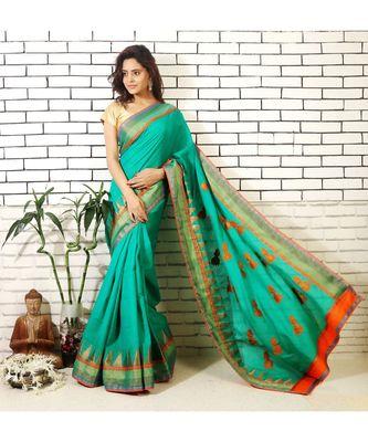 green bhagalpuri silk saree with jhumki applique and embroidered blouse piece