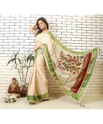 tussar saree with madhubani painting and hand embroidery on pallu and brocade blouse piece