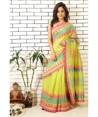 green chanderi block printed and embroiidered saree with blouse piece