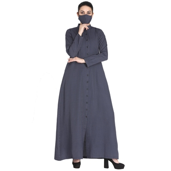 Mushkiya-Front Open Abaya Made in Poly Cotton Fabric