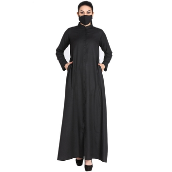Mushkiya-Front Open Abaya Made in Poly Cotton Fabric