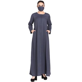 Mushkiya-Poly Cotton Abaya With Fabric Buttons.