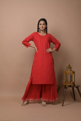 Red plain cotton cotton-kurtis