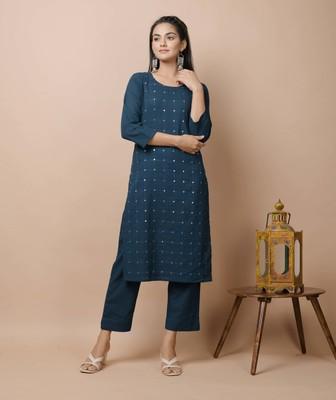 Navy-blue plain cotton cotton-kurtis