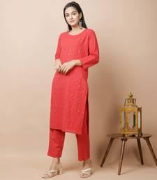 Red plain cotton cotton-kurtis