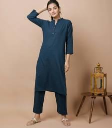 KAAJH Navy Blue Solid Cotton Casual Kurta Pant Set